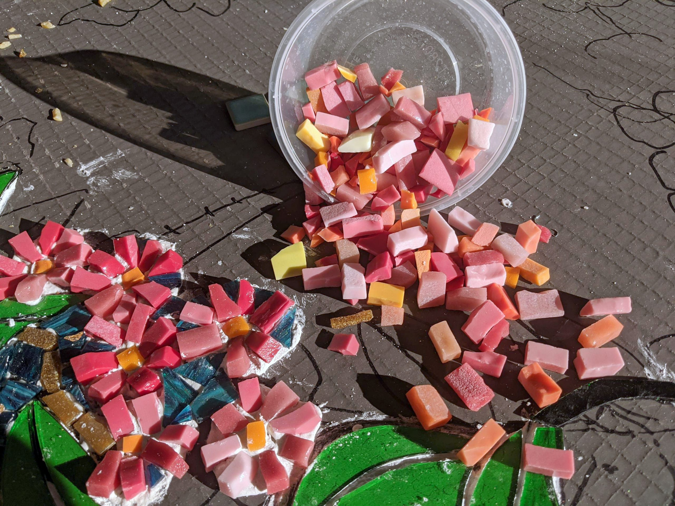Small pieces of glass mosaics called smalti