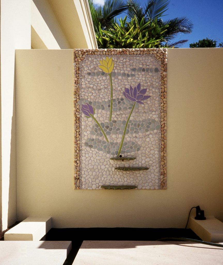 sculptured clay and pebble mosaic